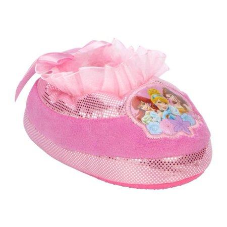 Disney Toddler Girls Plush Pink Princess Slippers Faux Fur House Shoes - Girls Disney Shoes