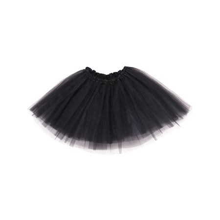 women's 3-layered Ballet Tutu Skirt, Tulle Fibers &Classic Elastic, Black - Red Undergarments