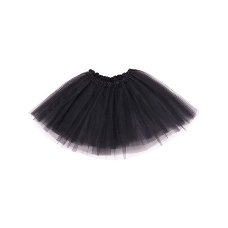 women's 3-layered Ballet Tutu Skirt, Tulle Fibers &Classic Elastic, Black (Halloween Safety Tips Red Cross)