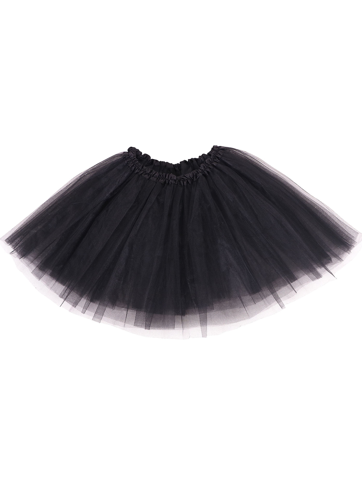 women's 3-layered Ballet Tutu Skirt, Tulle Fibers &Classic Elastic, Black