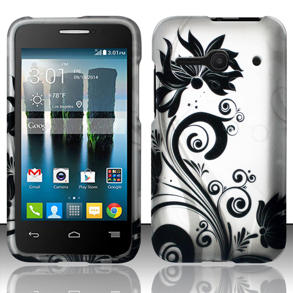 For Alcatel One Touch Evolve 2 4037T (T-Mobile) - Rubberized Design Hard Snap-On Cover - Black Vines DP