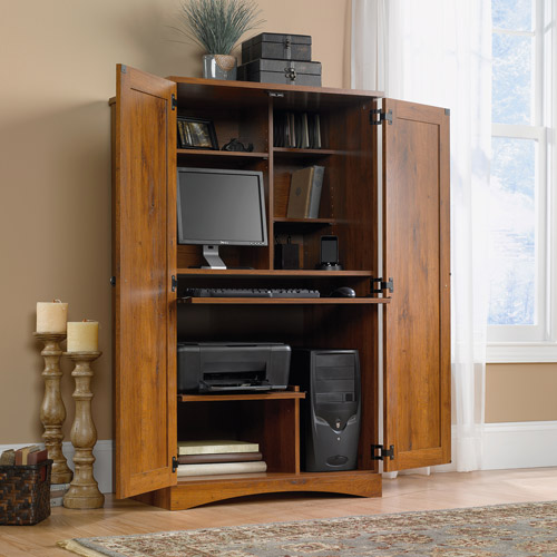Sauder Harvest Mill Computer Armoire, Abbey Oak