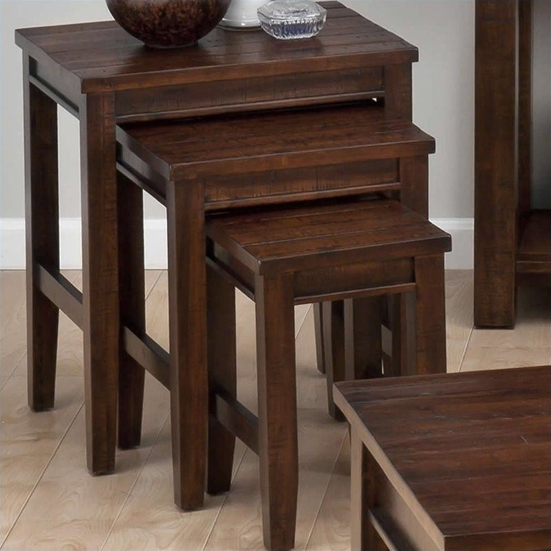 Jofran 3 Piece Nesting Tables in Urban Lodge Brown by Jofran