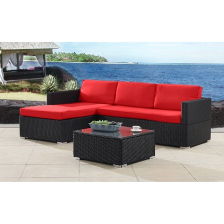 modern outdoor garden sectional wicker sofa set with