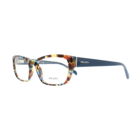PRADA Eyeglasses PR18OV NAG1O1 Havana Spotted Blue (Discount Prada Eyeglasses)