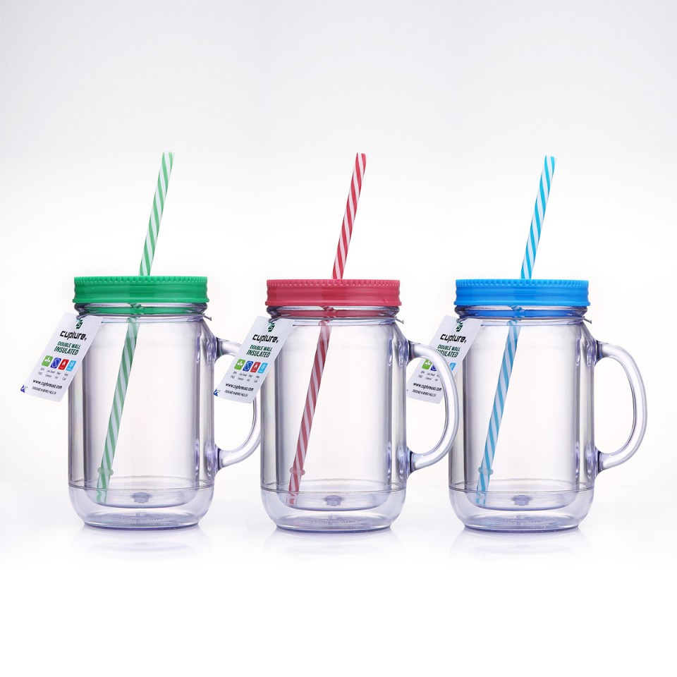 Cupture Double Wall Insulated Plastic Mason Jar Tumbler Mug with Striped Straws 20 oz, 3 Pack by Cupture