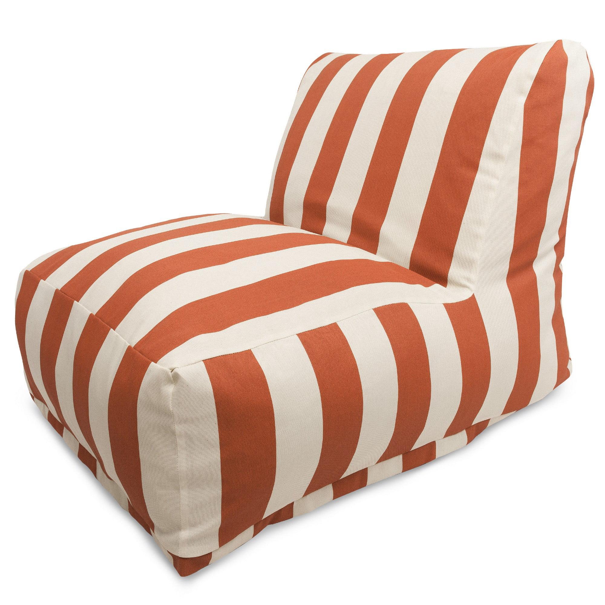 Majestic Home Goods Indoor Outdoor Burnt Orange Vertical Stripe Chair Lounger Bean Bag 36 in L x 27 in W x 24 in H