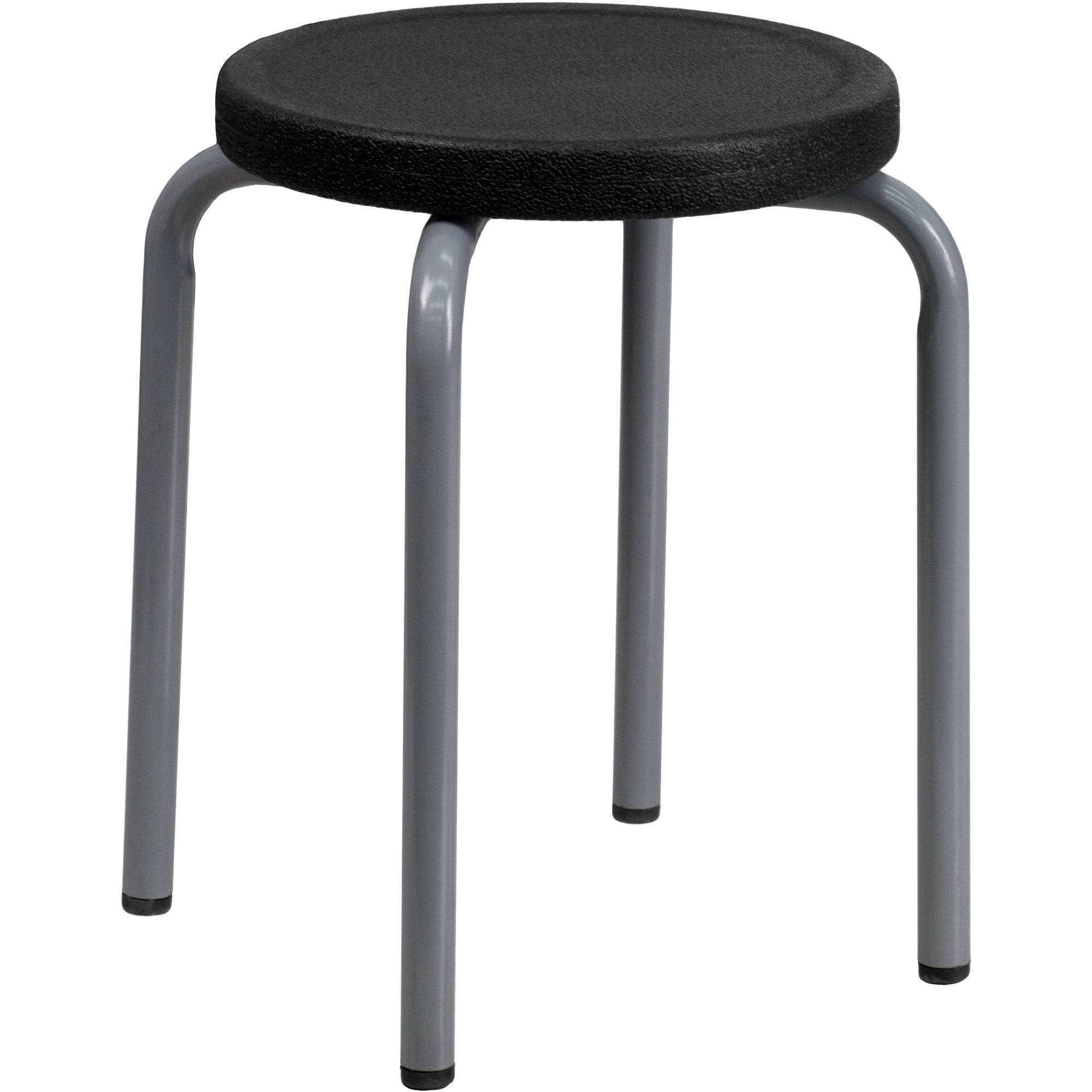 Flash Furniture Stackable Stool with Black Seat and Silver Powder Coated Frame, 10pk