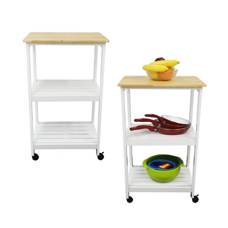Houseables Microwave Cart Kitchen Stands And Carts White Natural 21