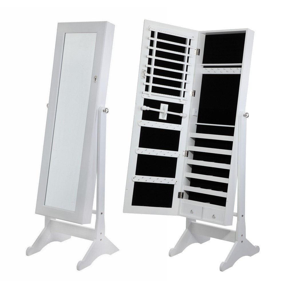 Homegear Mirrored Jewelry Cabinet With Stand Armoire Organizer Storage White