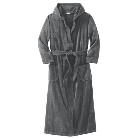 KingSize Men's Big & Tall Tall Terry Velour Hooded Maxi Robe