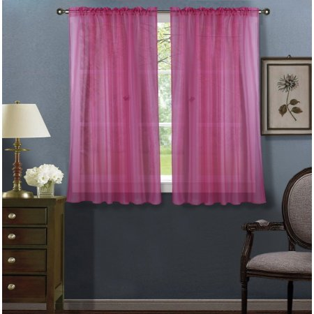 2pc Hot Pink Solid Sheer Voile Window Curtain Set, Two (2) Rod Pocket Panels 55