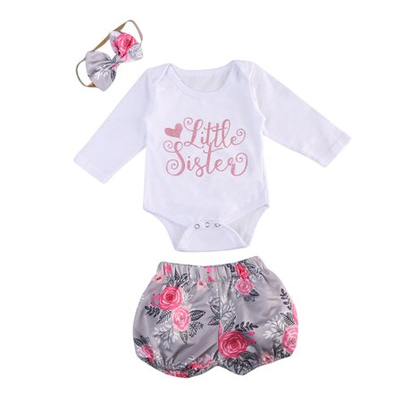 70aba2ac199 XIAXAIXU - 3PCS Newborn Baby Girls Clothes Sister Romper Jumpsuit  Bodysuit+Floral Pants Shorts +Hair band Outfit Set - Walmart.com