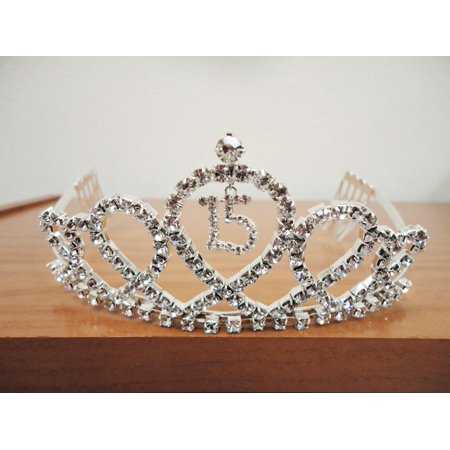 Charmed SILVER RIBBON TIARA WITH CHARM Sweet 15 Quiceanera 15th Birthday Crown