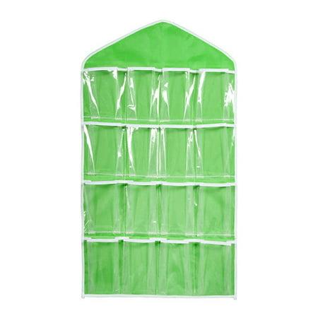 Pixnor 16 Pockets Clear Over Door Hanging Bag Hanger Underwear Socks Bra Closet Storage Tidy Organizer (Green)](Door Hangers Halloween)