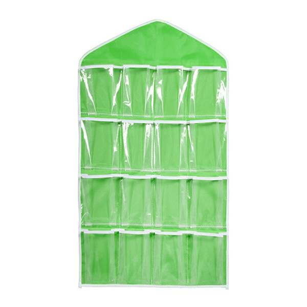 Pixnor 16 Pockets Clear Over Door Hanging Bag Shoe Rack Hanger Underwear Socks Bra Closet Storage Tidy Organizer (Green)