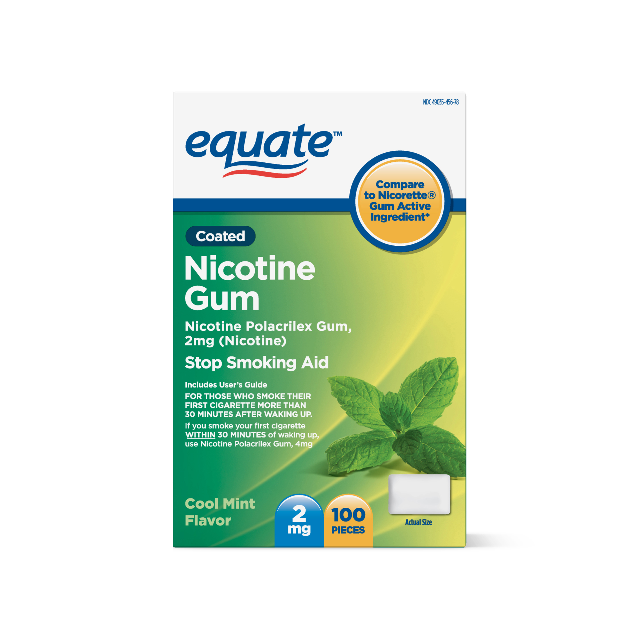 Equate Coated Nicotine Cool Mint Gum, 2 mg, 100 Ct