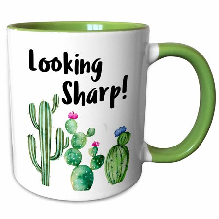 2 Ounce Cactus Green (3dRose Funny Ironic Looking Sharp Watercolor Cactus Quote - Two Tone Green Mug, 11-ounce )