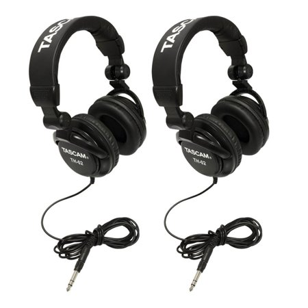 Tascam Th 02B Foldable Recording Mixing Home Studio Headphones   Black  2 Pair