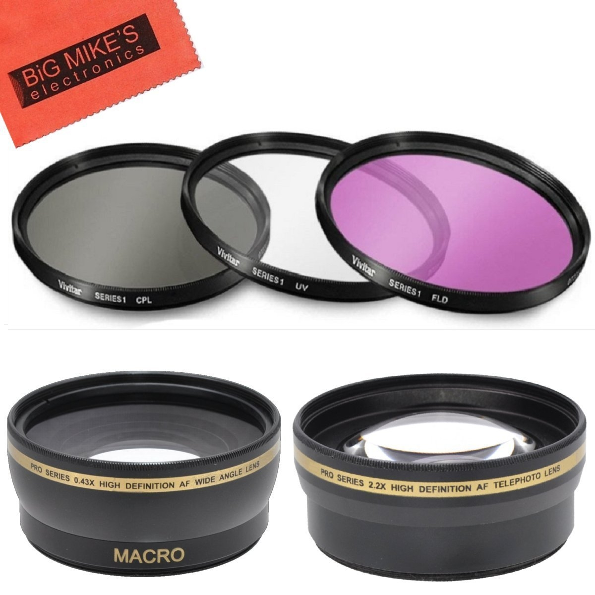 Deluxe Lens Kit for panasonic AG-HCK10g AG-HMC40PJ AG-HMC80PJ professional camcorder + Includes 43mm PC Filter Kit + 43mm 2X Telephoto Lens + 43mm 0.45x Wide Angle Lens with Macro + MicroFiber...