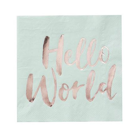 Weddingstar T333 Baby Shower Paper Napkins & Hello World - World Market Napkins