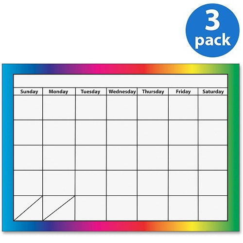 (3 Pack) Ashley, ASH10096, 1-month Dry Erase Magnetic Calendar, 1 Each, Multicolor