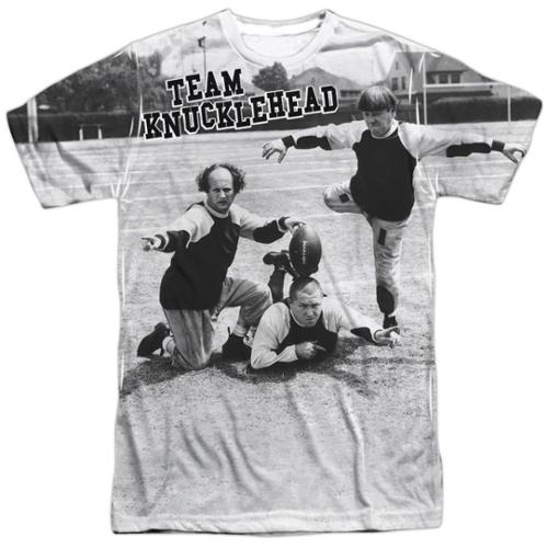 The Three Stooges Team Knucklehead Mens Sublimation Shirt White SM