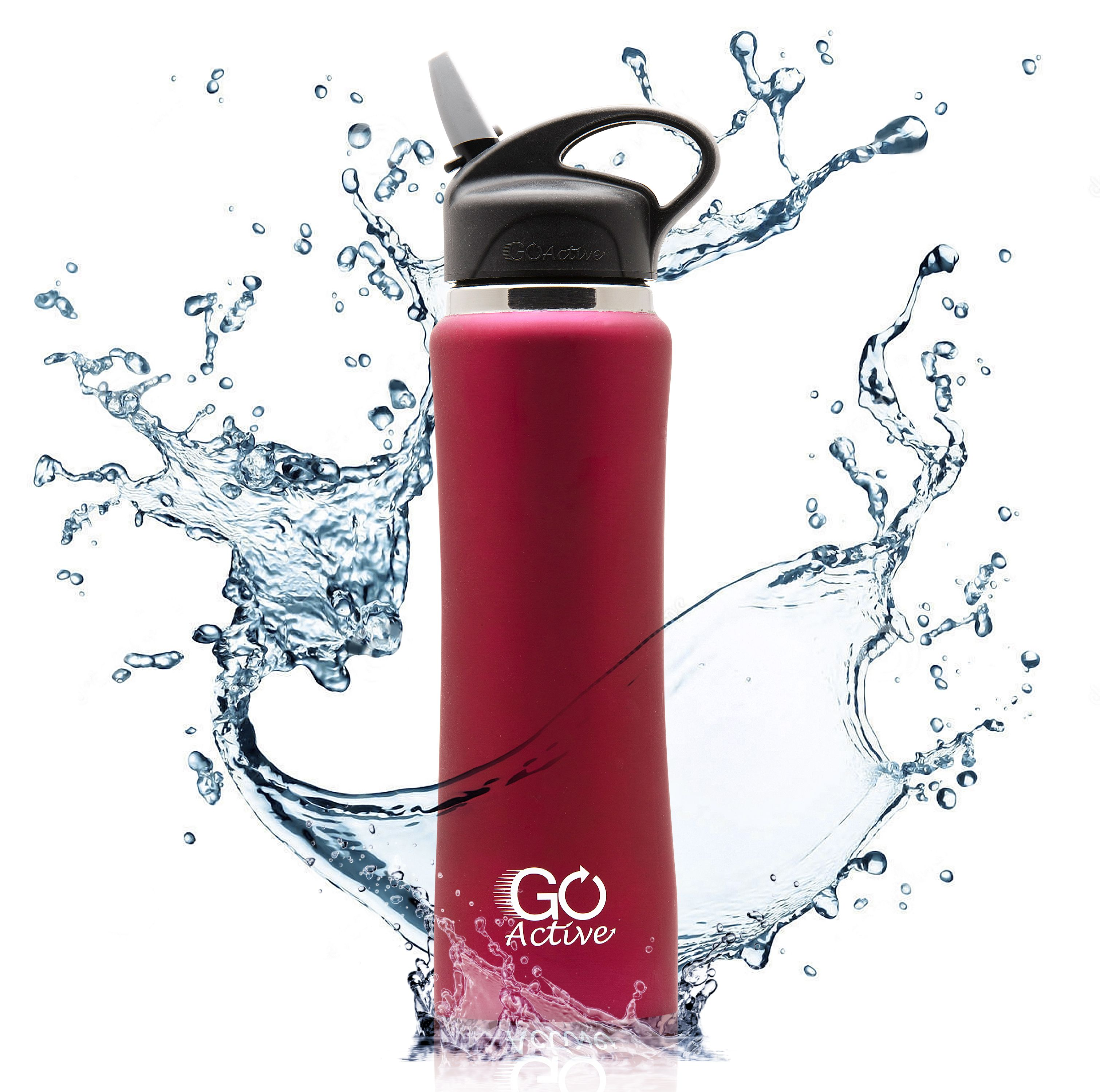 GO Active - Insulated Water Bottle with Straw. Stainless Steel Sport Bottle is Leak Proof, Perfect for Kids, Durable, Vibrant Colors, and keeps ice over 24 hours! 24oz and 1 Liter size