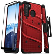 ZIZO BOLT Series for Samsung Galaxy A21 Case with Screen Protector Kickstand Holster Lanyard - Red & Black