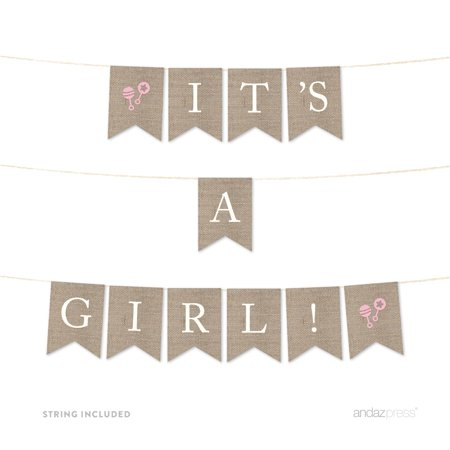 Burlap Baby Shower Banner (It's A Girl! Burlap Baby Shower Pennant Party)