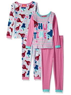 Trolls Little Girls' Cotton 4-Piece-Pajama Set, Pink Sherbert, 6
