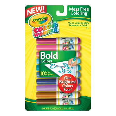 Crayola 10 Countcolor Wonder Mini Markers, Vivid Colors - Crayola Color Wonder Markers