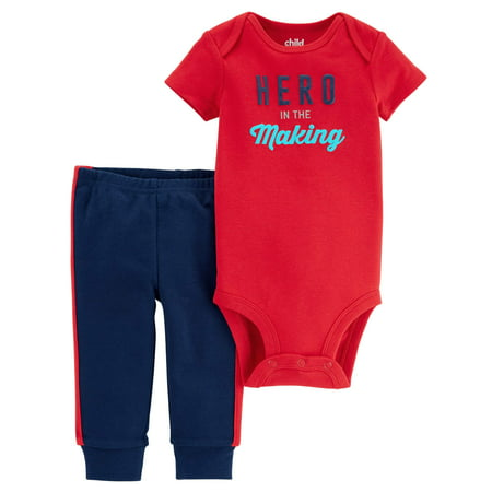 Baby Boy Short Sleeve Bodysuit & Pants, 2pc Outfit Set for $<!---->