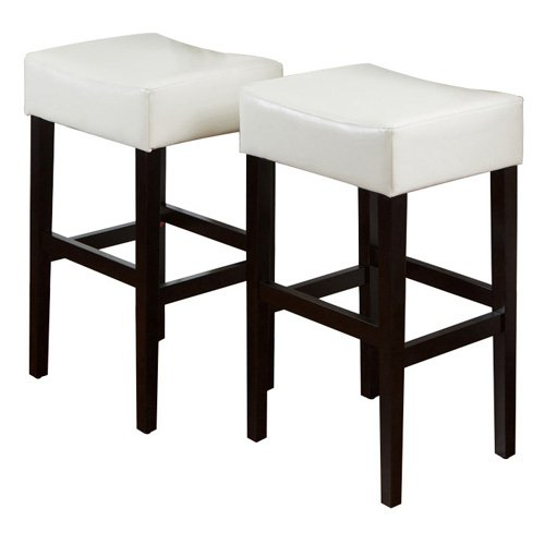 Classic Ivory Leather Backless Bar Stool - Set of 2