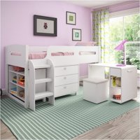 Pemberly Row CorLiving 5-Piece All-in-One Single Twin Loft Bed in Snow White