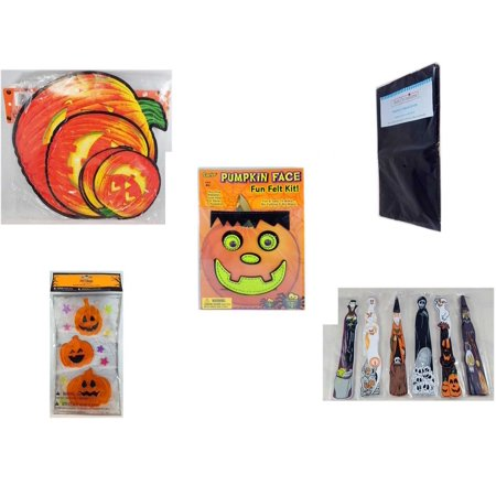 Halloween Fun Gift Bundle [5 Piece] - Classic Pumpkin Cutouts Set of 9 - Black Plastic Table Cover  - Darice Pumpkin Face Fun Felt Kit - Frankenstein - Gel Clings Pumpkins, Stars -  Wooden Craft Sti - Super Fun Halloween Crafts