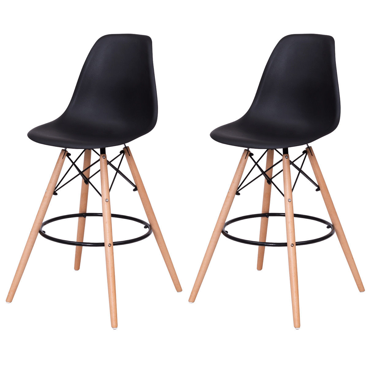 Costway Set of 2 Dining Side Armless Accent Chair Molded Plastic Seat Wooden Legs Black