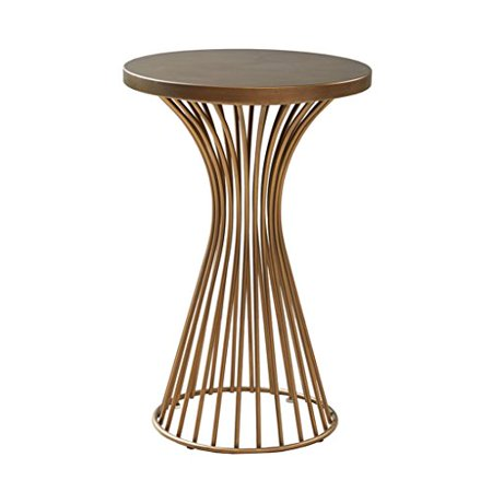 Mid Century Modern Round Antique Bronze Metal Wire Frame 24 inch Pedestal Accent Table - Includes Modhaus Living Pen