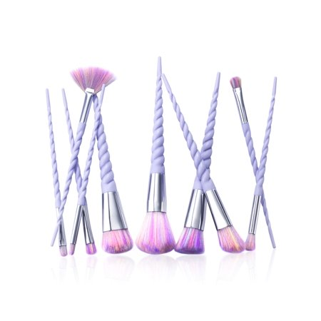 Zodaca 10Pcs Makeup Brush Set Cosmetic Professional Brushes Tools Kit Purple Spiral Handle Unicorn Makeup Brush with Raindow Bristles Foundation Blending Blush Eyeshadow Eyeliner Face Powder