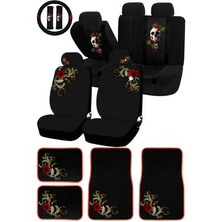 26PC Fragrant Elegance Red Flower Skull Universal Seat Covers Carpet Floor Mats Set Car Truck