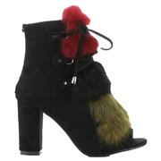 Cape Robbin Tia-1 Open Peep Toe Faux Fur Lace Block Heel Ankle Bootie Boot Black (6)