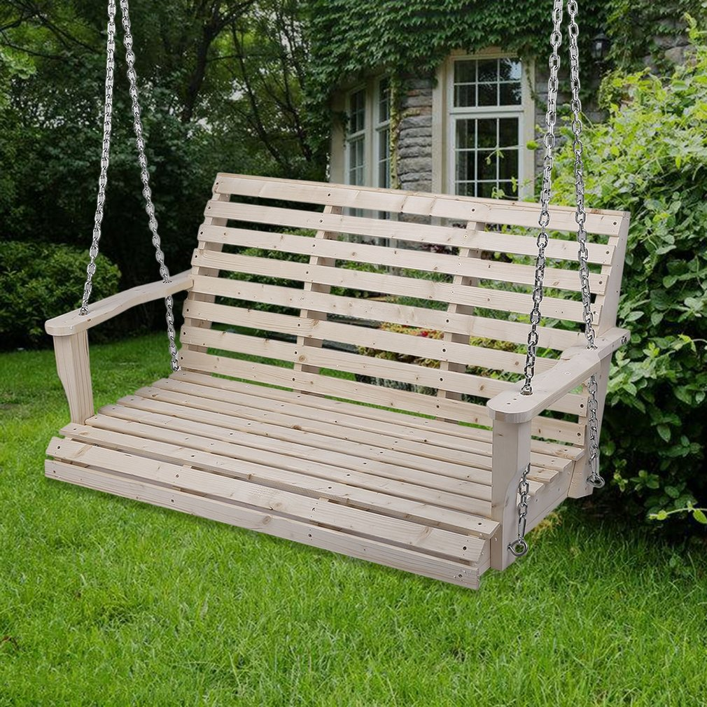 Durable Patio Garden Swing 3 Persons Wooden Wood Swing Chair Porch Bench  Lounger Swing With