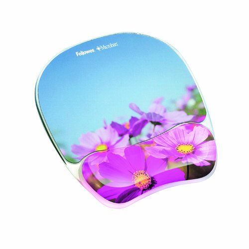 "Fellowes Photo Gel Mouse Pad Wrist Rest With Microban Protection - Pink Flower - 0.9"" X 9.3"" X 7.9"" (9179001)"