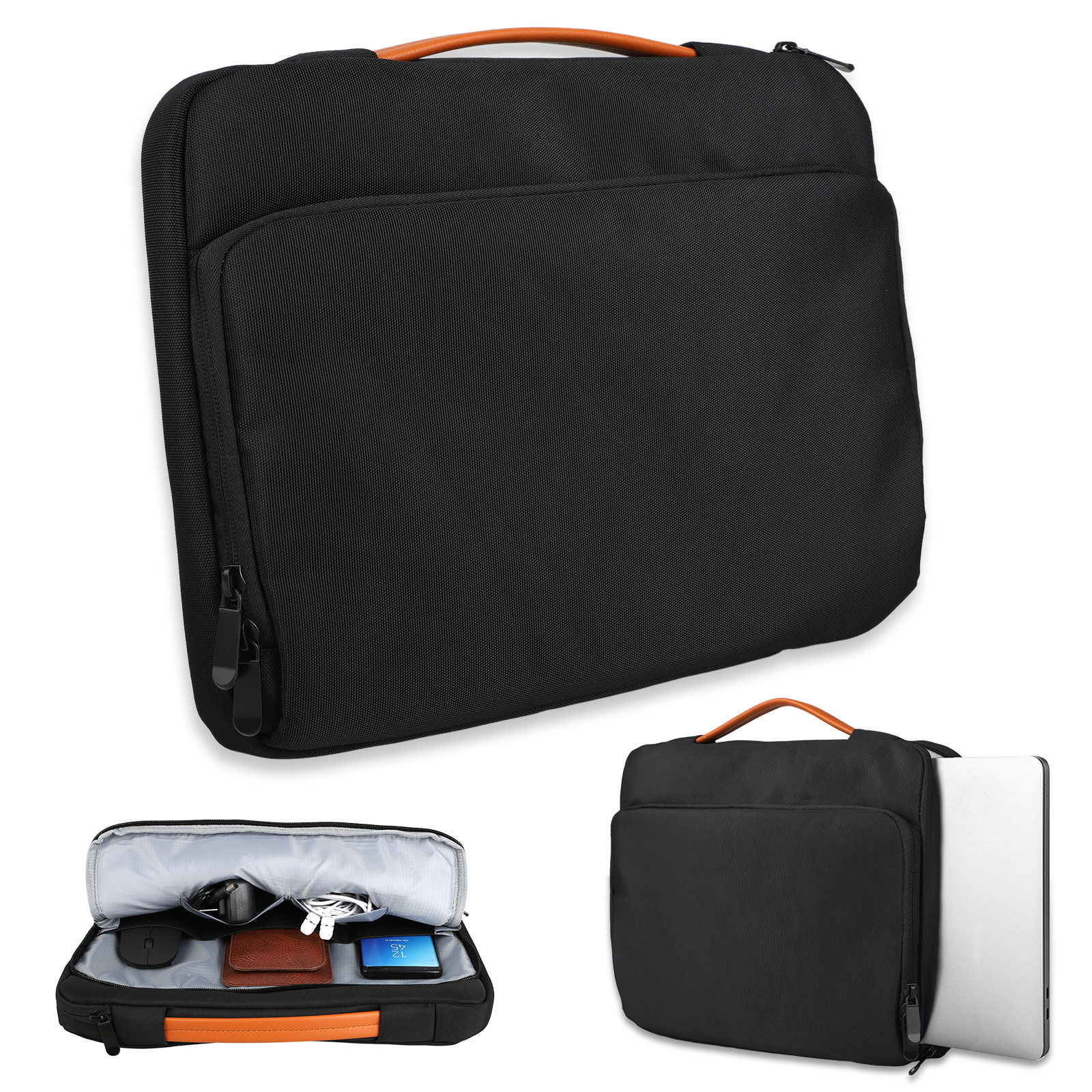 "Laptop Sleeve Case Protective Bag, Universal Laptop Handbag Pouch for 13"" 13.3"" 13.5"" 14"" NoteBook (Black)"