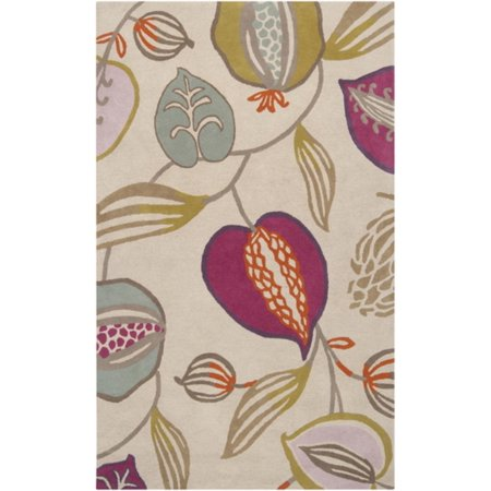 5 X 8 Eclectic Garden Violet  Ivory   Olive Wool Area Throw Rug Corner Sample