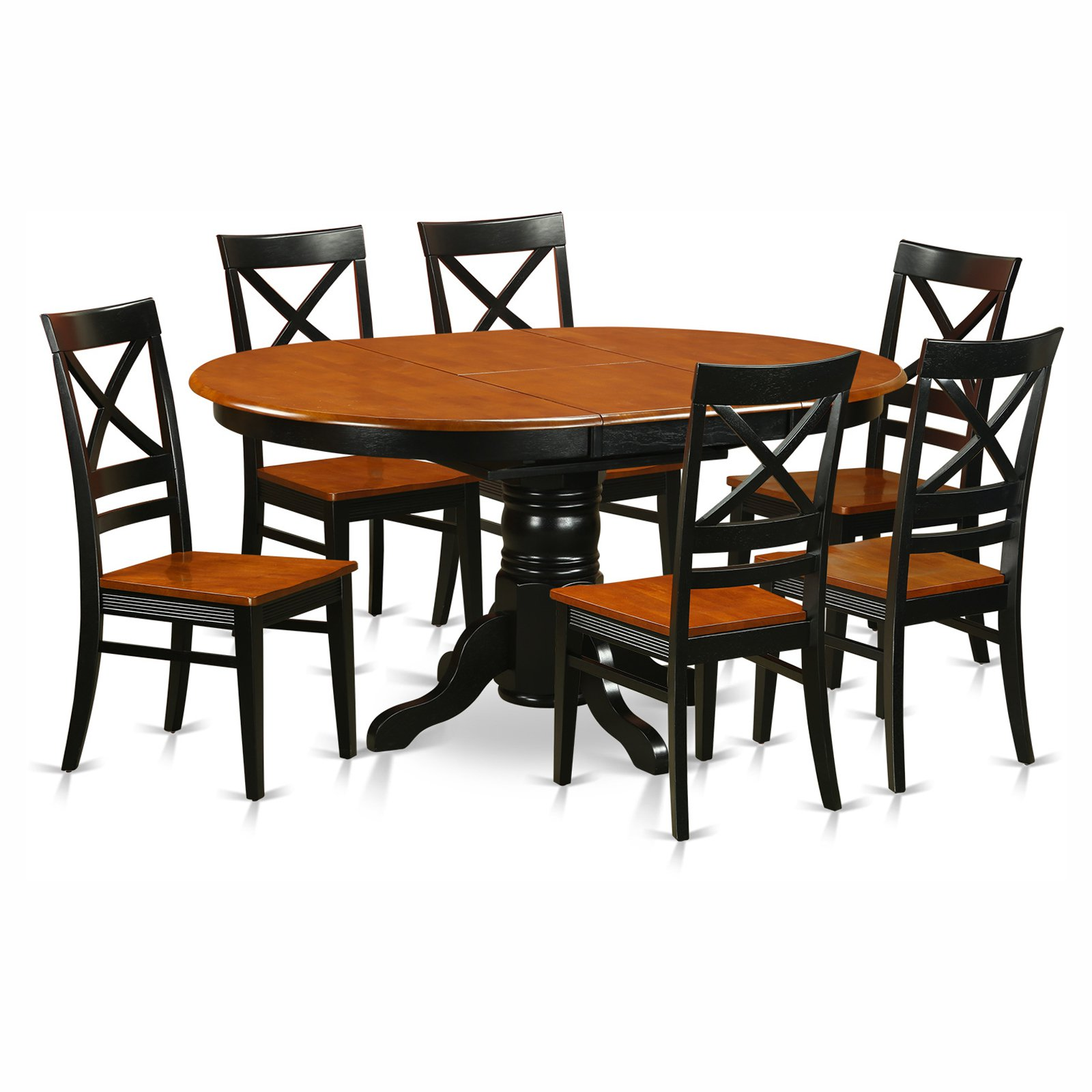 East West Furniture Avon 7 Piece Pedestal Oval Dining Table Set with Quincy Wooden Seat Chairs