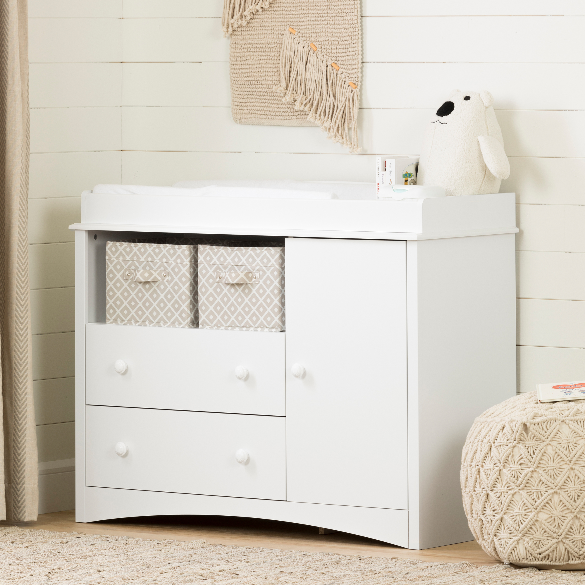 South Shore Peak A Boo Changing Table, White