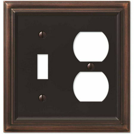 Continental Aged Bronze Cast Single Toggle/Single Duplex Wallplate