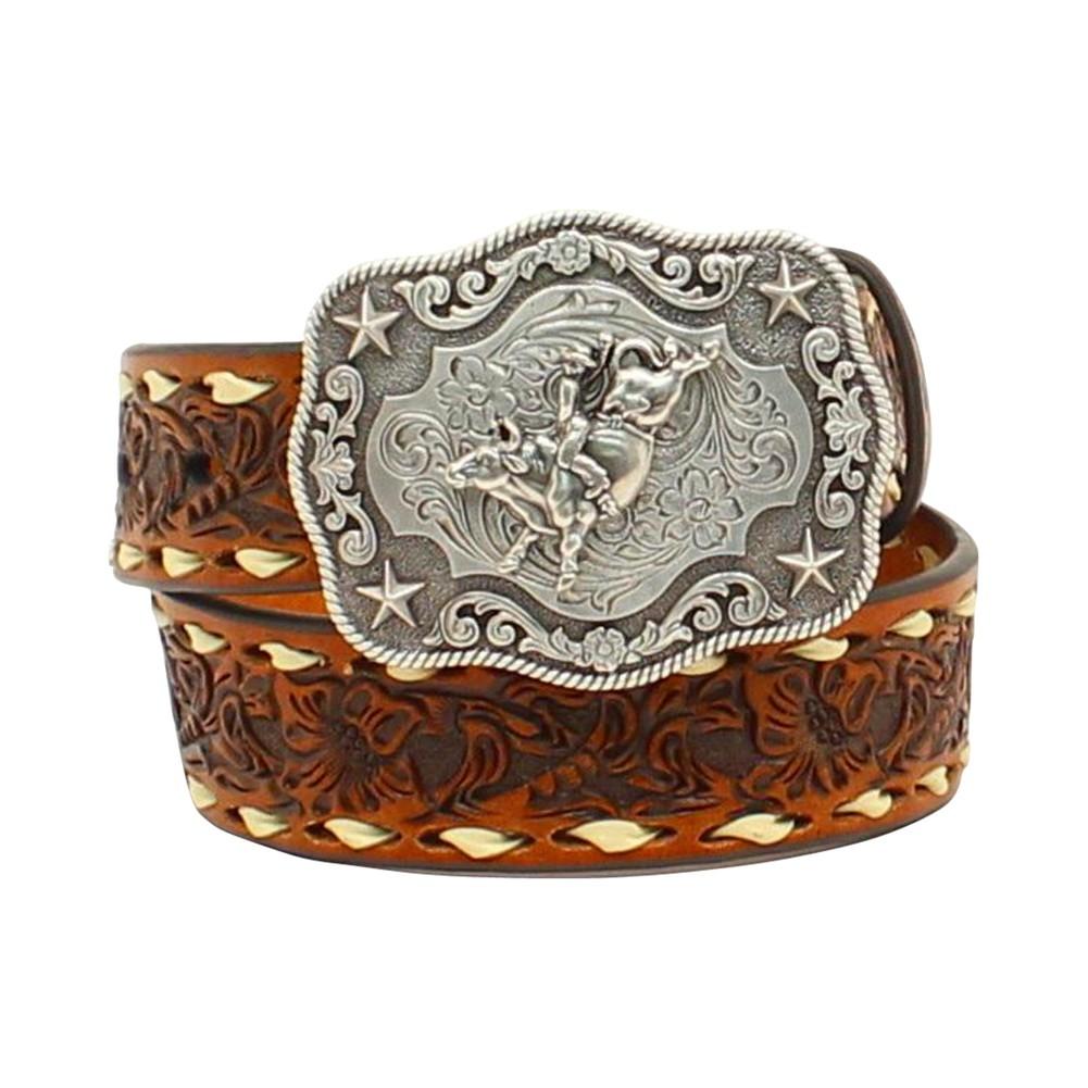Nocona Boys Rodeo Bull Rider Motif Buckle Belt