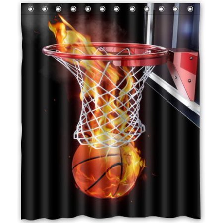 HelloDecor Flaming Basketball Shower Curtain Polyester Fabric Bathroom Decorative Size 60x72 Inches